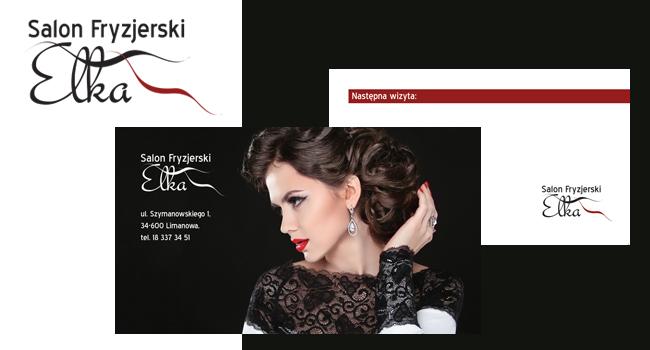 Logotyp i wizytówka dla Salonu fryzjerskiego Elka