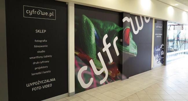 Projekt oklejenia witryny sklepowej dla Cyfrowe.pl